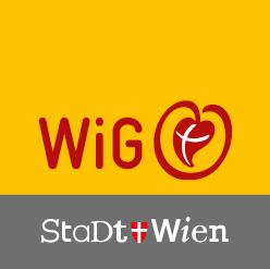 """Das Logo zeigt den Schriftzug """"WiG"""" sowie die Abbildung des Wiener Wappens sowie die Wörter """"Stadt Wien"""""""