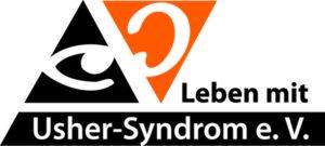 """Das Logo zeigt ein Auge und ein Ohr sowie den Schritzug """"Leben mit Usher-Syndrom e.V."""""""