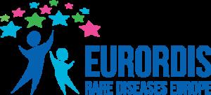 """Logo zeigt zwei Personen, bunte Sterne und den Schriftzug """"EURORDIS Rare Diseases Europe"""""""